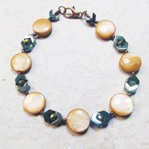 """Iridescent Tan Shell Beads & Petrol Hematite Faceted Beads + Chevrons ~ 7"""" or 8"""""""